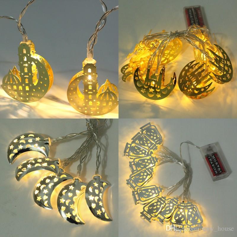 Eid al-Fitr LEVOU Luz Da Corda 10 LED Luz Da Corda Islâmico Eid Ramadan Decoração Lua Dourada Estrela Lanterna Decoração de Casa Ramadan Partido fornecimento