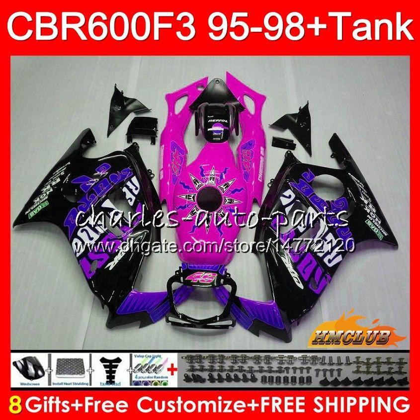 + Бак для Honda CBR 600F3 CBR600FS 600CC 97 98 1997 Стоковая розовая роза 1998 Объем 41NO.251 CBR600 F3 CBR 600 FS F3 CBR600F3 95 96 1995 1996 Kit