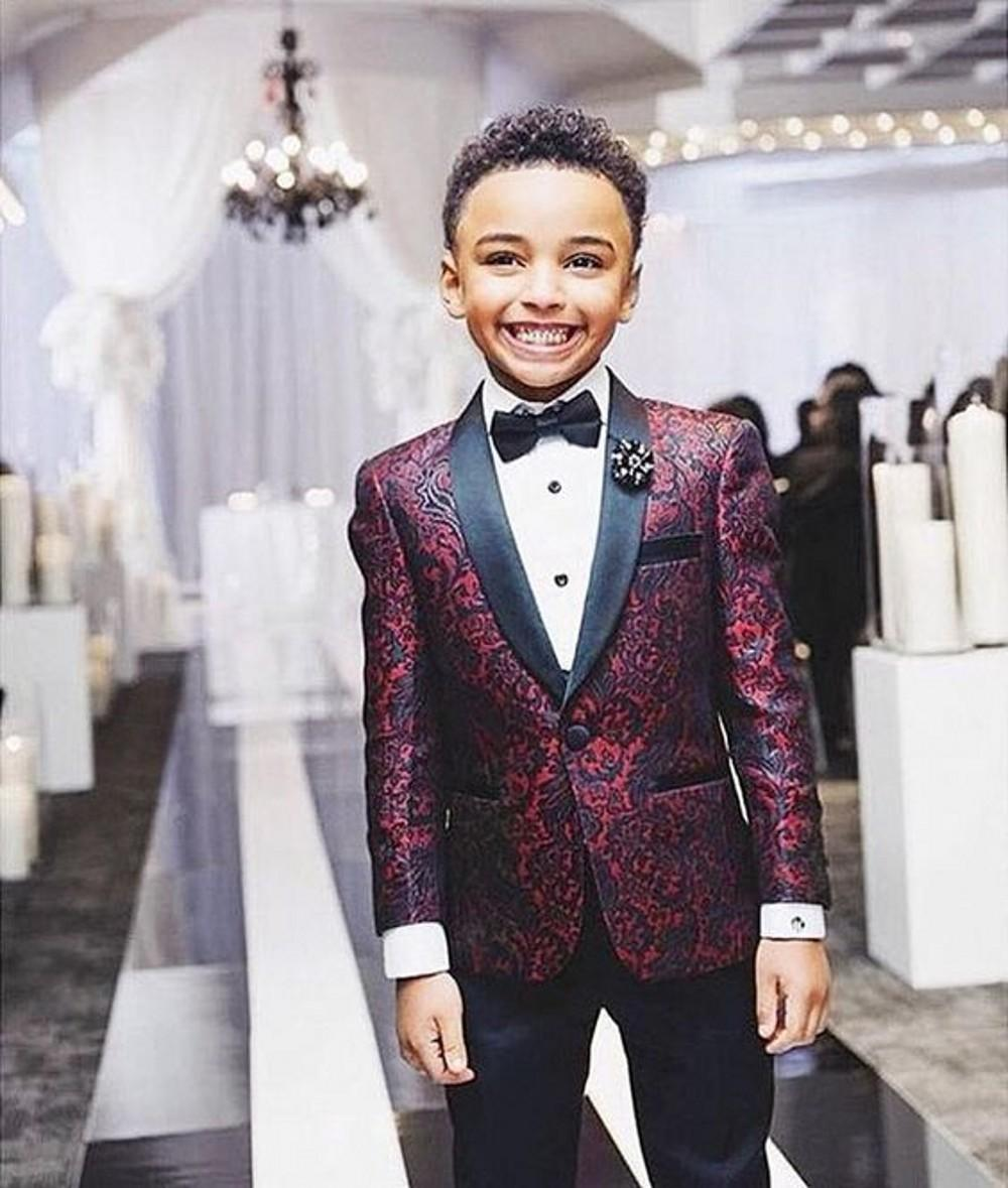 Burgundy Children suits for party occasion boy wedding suits set Children's Clothing Suits Blazers blazer for boys (Jacket+Black Pants +Bow)