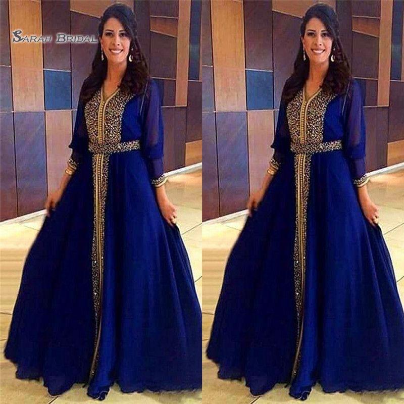 Luxus muslimischen Abendkleider 2020 Dubai Kaftan formale Partei marokkanischen Königsblau Abendkleider bodenlangen Vestidos De Novia
