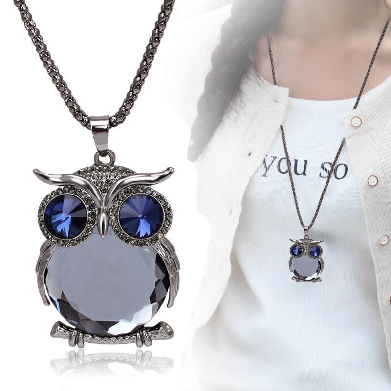 Suéter collar 2019 nuevo producto listado mayorista personalizada de alta calidad creativo búho collar de cristal collar de diamantes