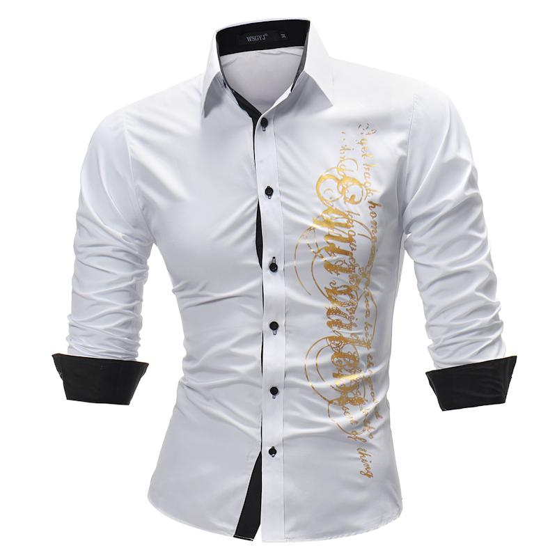 Brand Fashion Male Shirt Long -Sleeves Tops Letter Print Mens Dress Shirts Slim Men Shirt Plus Size 4xl Turn-down Collar Tops