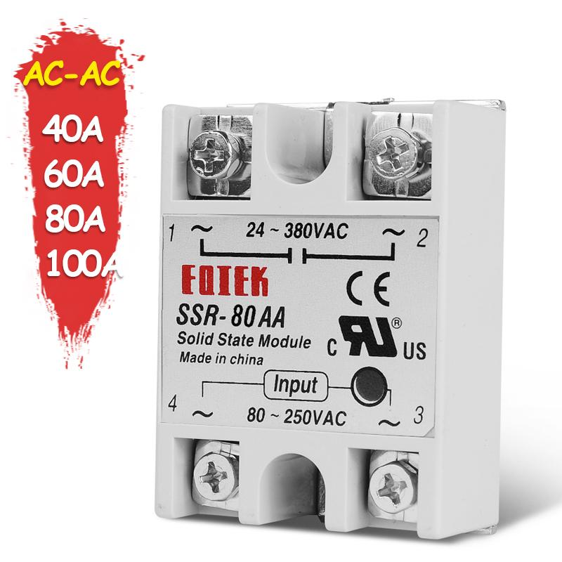 Single Phase Solid State Relay Switch Module 80-250VAC Solid State Relay Moudel 80A