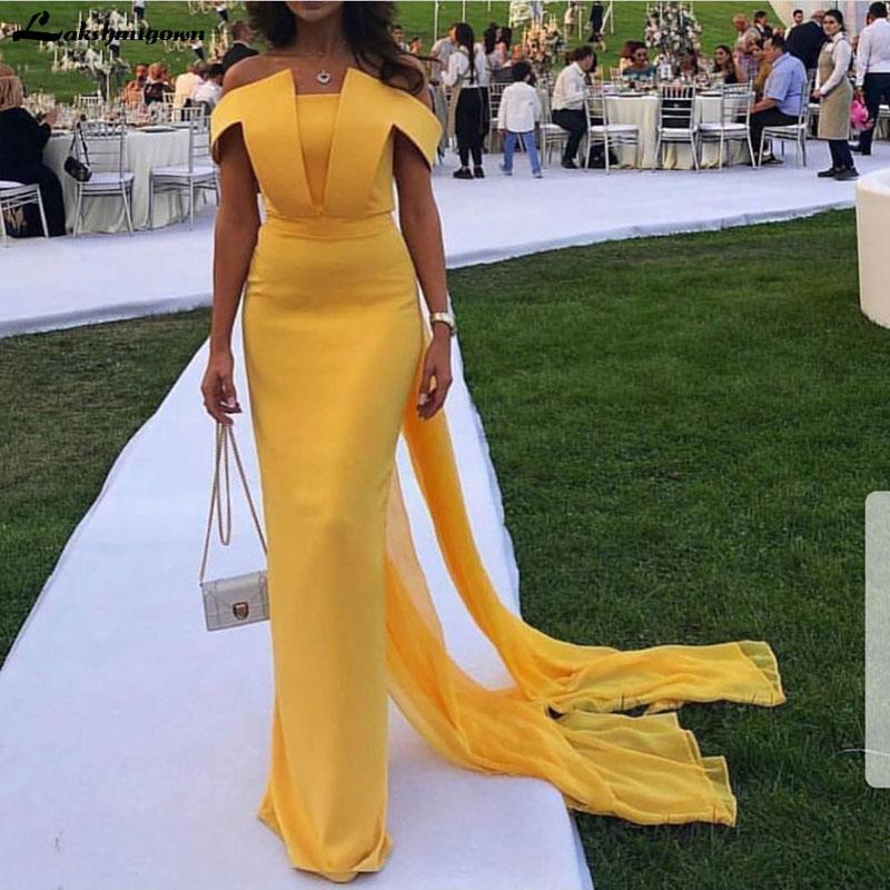 Mousseline de soie jaune robes de soirée longue 2019 Simple Backless Encolure sirène sexy robe de soirée New Arrivée vestido Sirena