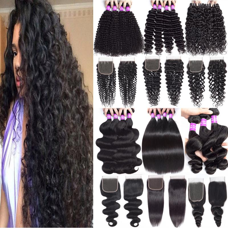 Bundles de cheveux vierges brésiliens avec fermeture profonde cheveux humains tissers avec fermeture en dentelle non traitée des cheveux de cheveux péruviens malaisiens