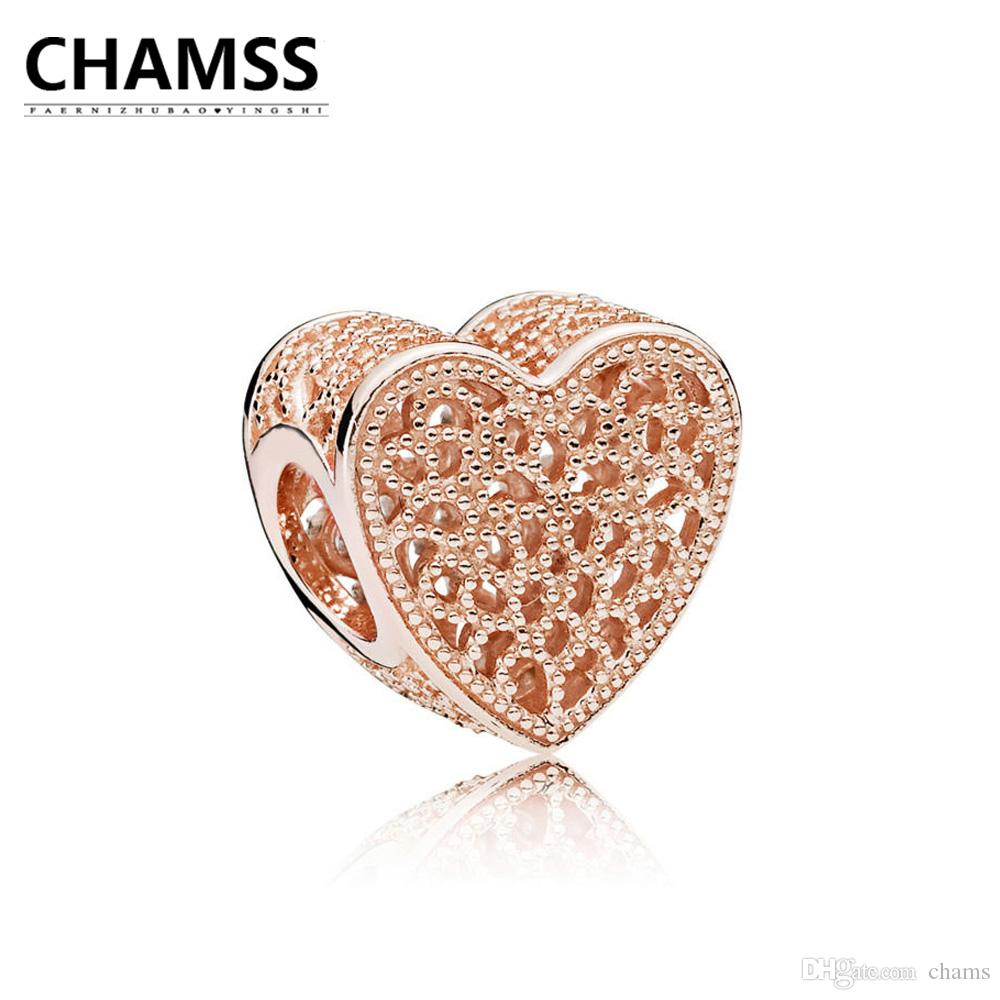 CHAMSS 2018 New781811 ROSE FILLED WITH ROMANCE OPENWORK CHARM 925 Sterling Silve Bracelet Gifts Jewelry for Women