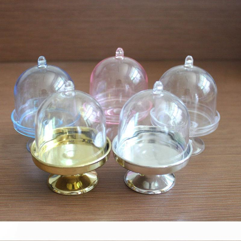 FREE SHIPPING Wholesale 200PCS Acrylic Clear Mini Cake Stand Baby Shower Wedding Favors Holder Birthday Party Sweet Table Decor Supplies