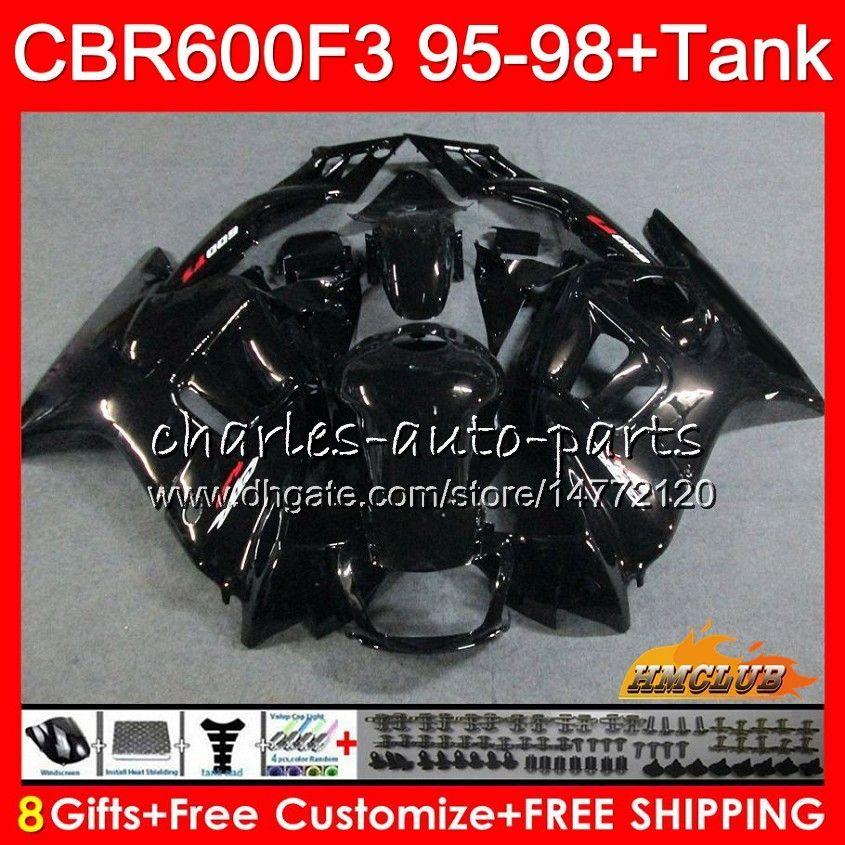 Body + Serbatoio per Honda CBR 600F3 600cc CBR600 F3 95 96 97 98 41HC.43 CBR 600 FS F3 CBR600FS CBR600F3 1995 1996 1997 1998 carenatura nera lucida