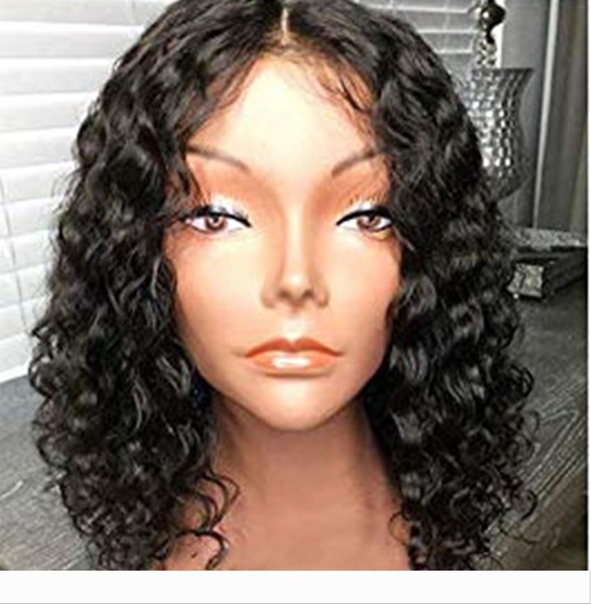 De 12 pulgadas pelucas de cabello humano brasileño rizado de frente corto cordón del pelo humano rizado bob mujeres DIVA negro pelucas densidad de 130%