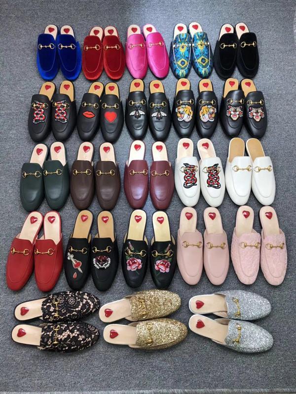 2019Men Mocassini in pelle scarpe Muller ciabatta da uomo con fibbia Moda Uomo Princetown Pistoni del Brown casual Mules Appartamenti 02