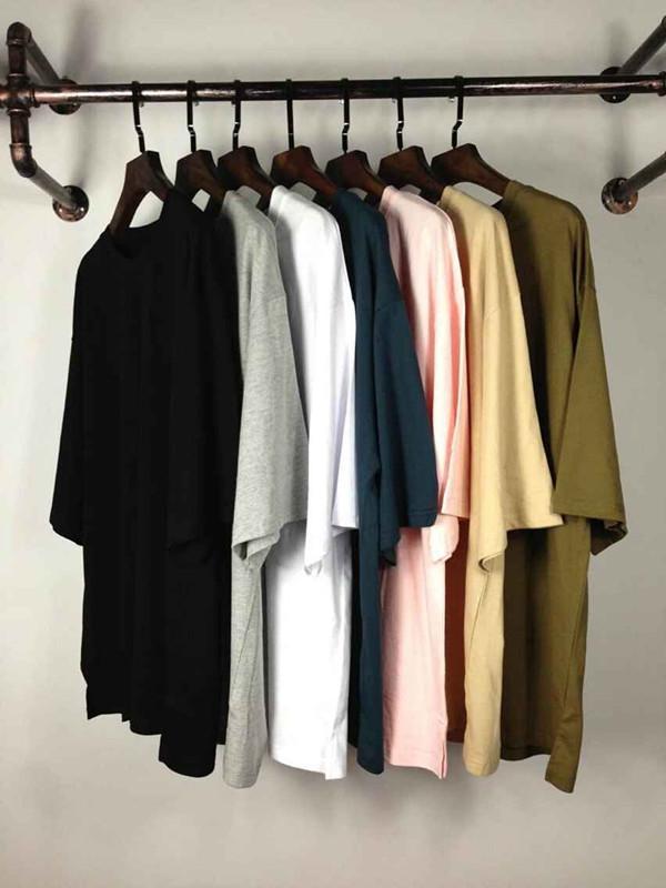 Пустая негабаритная футболка мода kanye west твердые свободные футболки хип-хоп уличная мужская половина рукава летняя одежда