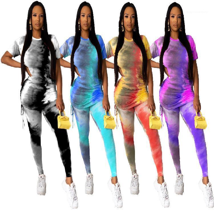 Конструктор костюмы Одежда женская для Slim лета женщин 2pcs костюмы штабелированные Топы Карандаш Брюки Одежда Наборы для печати