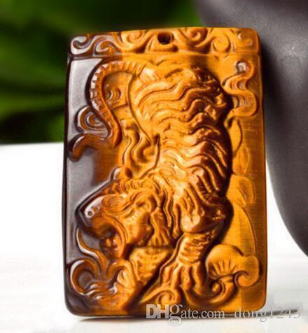 Grosso 100% gem olho de tigre mão esculpida Tiger pingente + colar de ouro livre Sorte pingente jóias