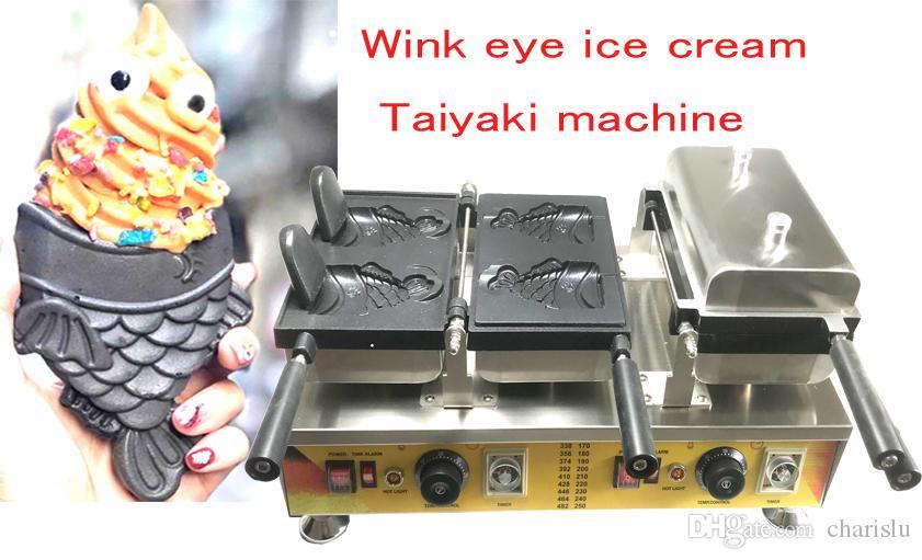 شحن مجاني جديد اليابانية الآيس كريم Taiyaki آلة صغيرة وامض السمك المخروط صانع