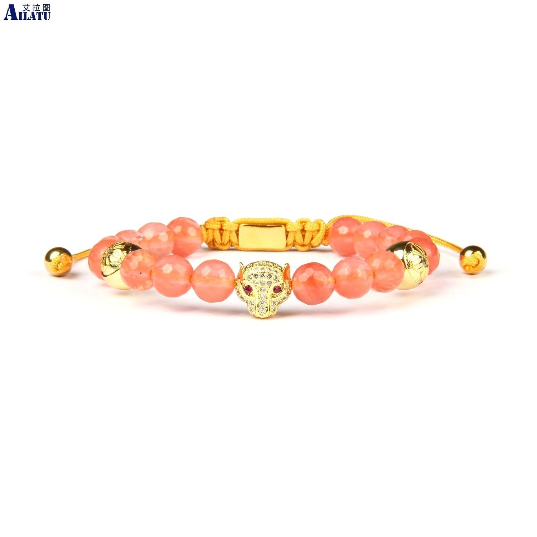 Ailatu New Womens Cz Leopard pulseira trançada com aço 8 milímetros Facted Stone Beads inoxidável Top Quality