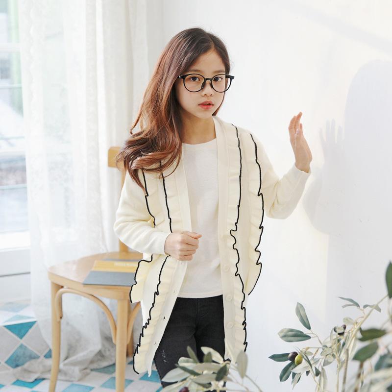 Cardigan per ragazze di marca Maglione per bambini Maglione sottile Cardigan per bambini Moda Cappotto per adolescenti Nuovo 2019 Filato di velluto coniglietto a molla, # 3883