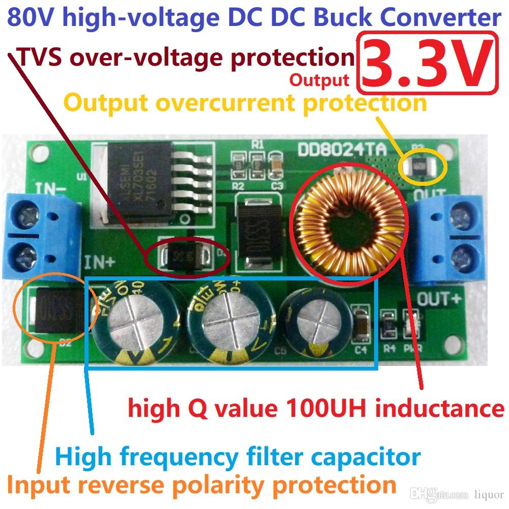 EBike HV-alto voltaje DC-DC convertidor DC 10V-80V 48V 36V a 3.3V Buck Paso-Down Junta de fuente de alimentación del módulo
