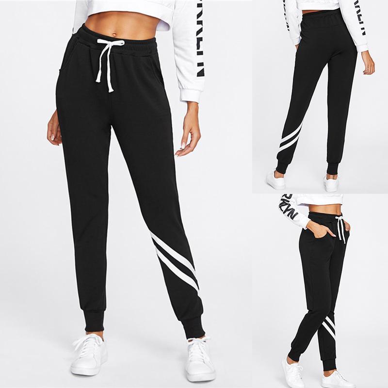 SFIT Summer Fashion Esecuzione di pantaloni a vita alta e traspirante pantaloni Donne coulisse in vita allenamento lungo Yoga Pant con Pocket