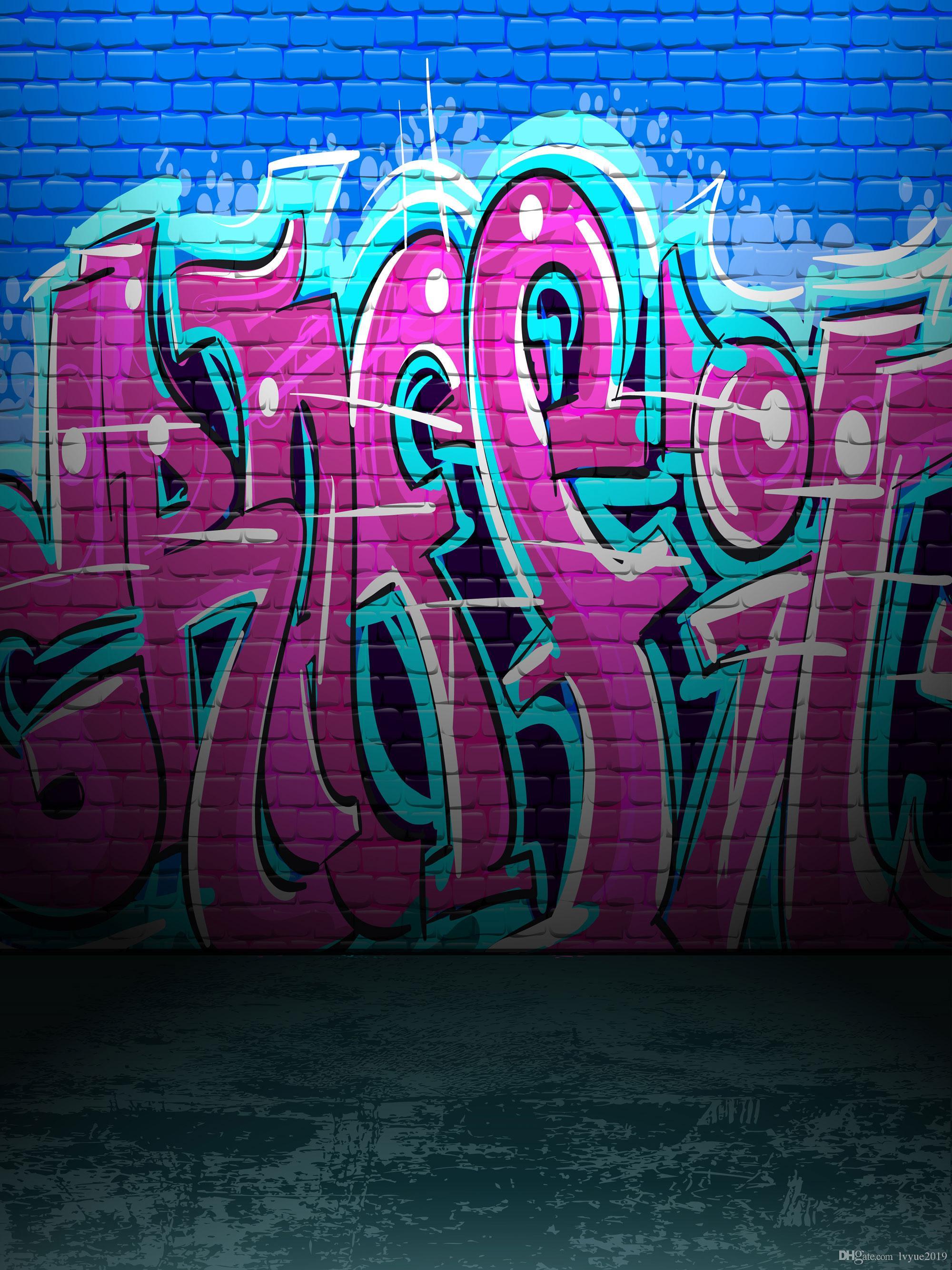 Graffiti azul e cor-de-rosa parede de tijolo Fotografia em Vinil Cenários Fotográficos sem costura fundos de cabines fotográficas para Crianças Adereços de festas de Aniversário