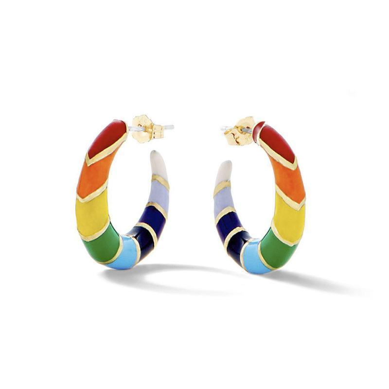 Moda Yeni Tasarım Kişilik Gökkuşağı Renkli C Ox Horn Renkli Hoop Küpeler İçin Kızlar Şeklinde