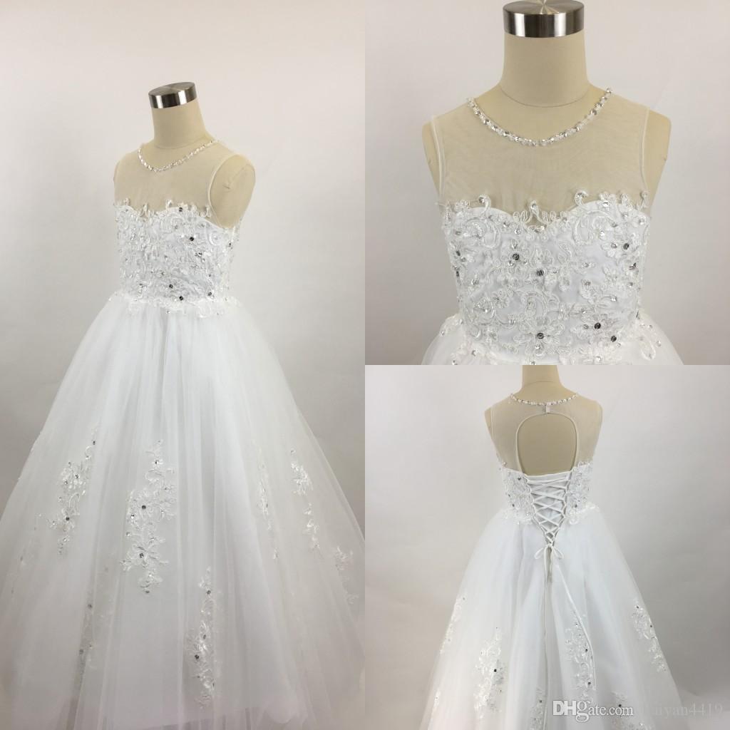 2020 저렴한 꽃 소녀 드레스 결혼식을위한 레이스 아플리케 환상 목 페르시 할로우 맨 바닥 길이 키즈 생일 소녀 선발 대회 가운