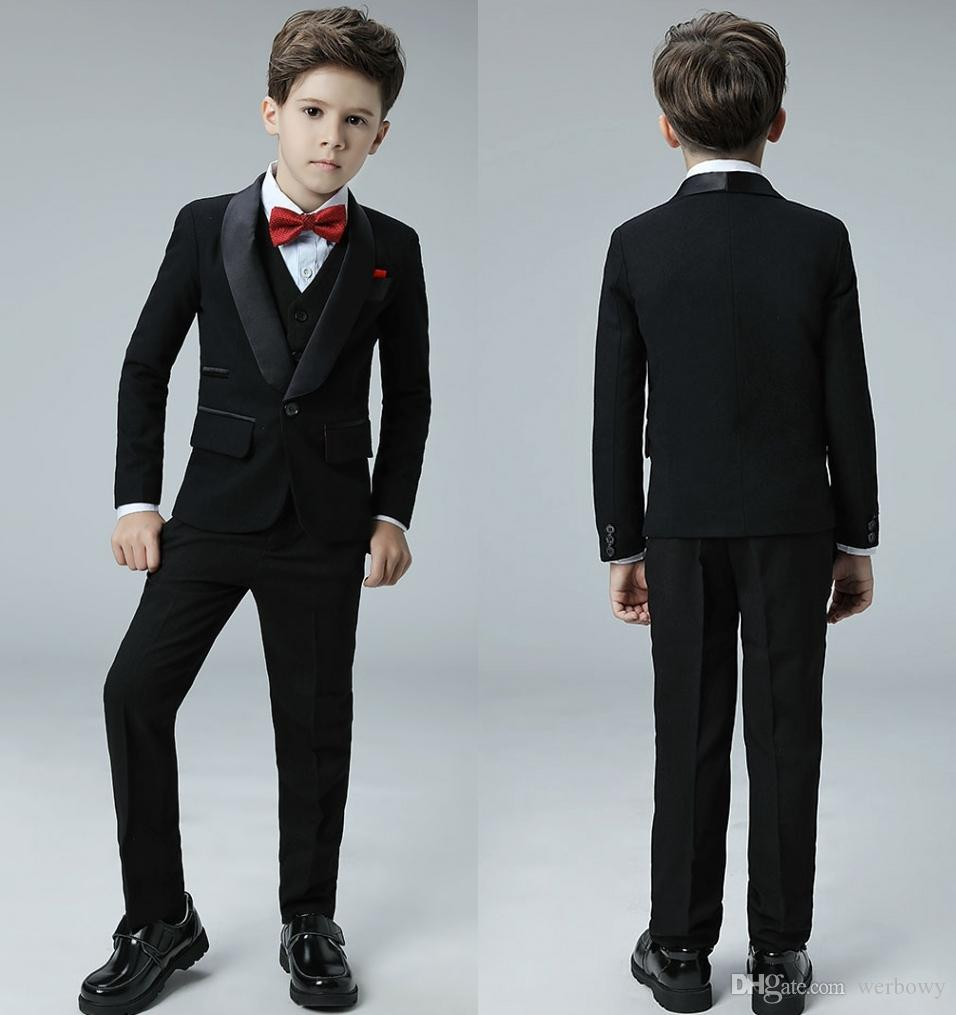 High Quality Cool One Button Shawl Lapel Kid Complete Designer Handsome Boy Wedding Suit Boys' Attire Custom-Made (Jacket+Pants+Vest)