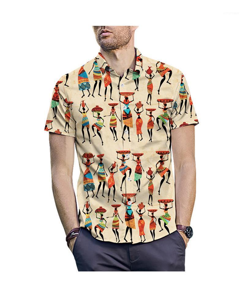 2020 Yaz Yeni Casual Gömlek Tasarımcı Erkek Casual Gömlek Kısa Kollu Moda Gevşek Yaka Boyun Gömlek yazdır