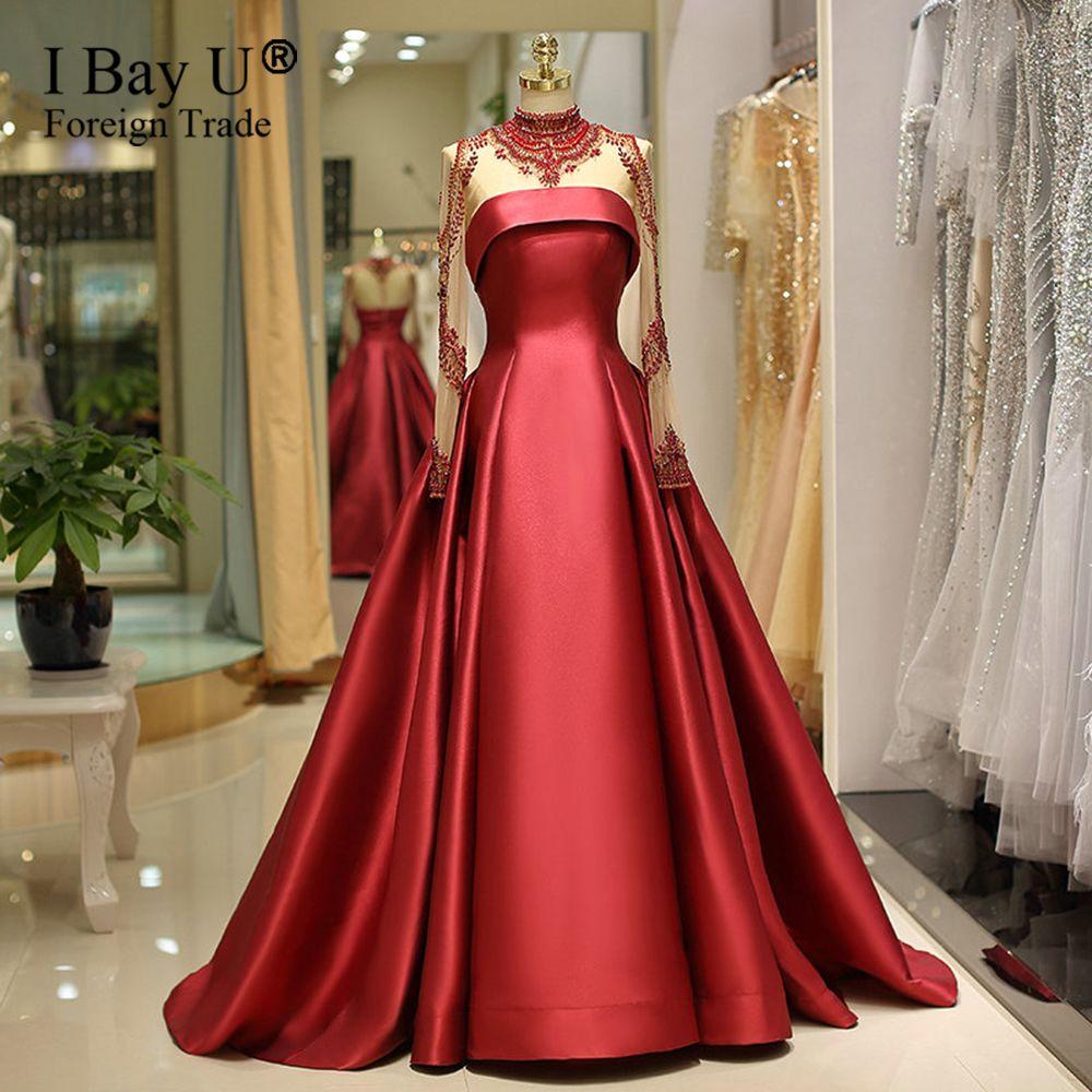 Großhandel Dubai Design Diamant Perlen A Line Dunkelrot Dunkelblau  Abendkleider 10 Stehkragen Lange Ärmel Elegante Satin Abendkleider Für  Party Von