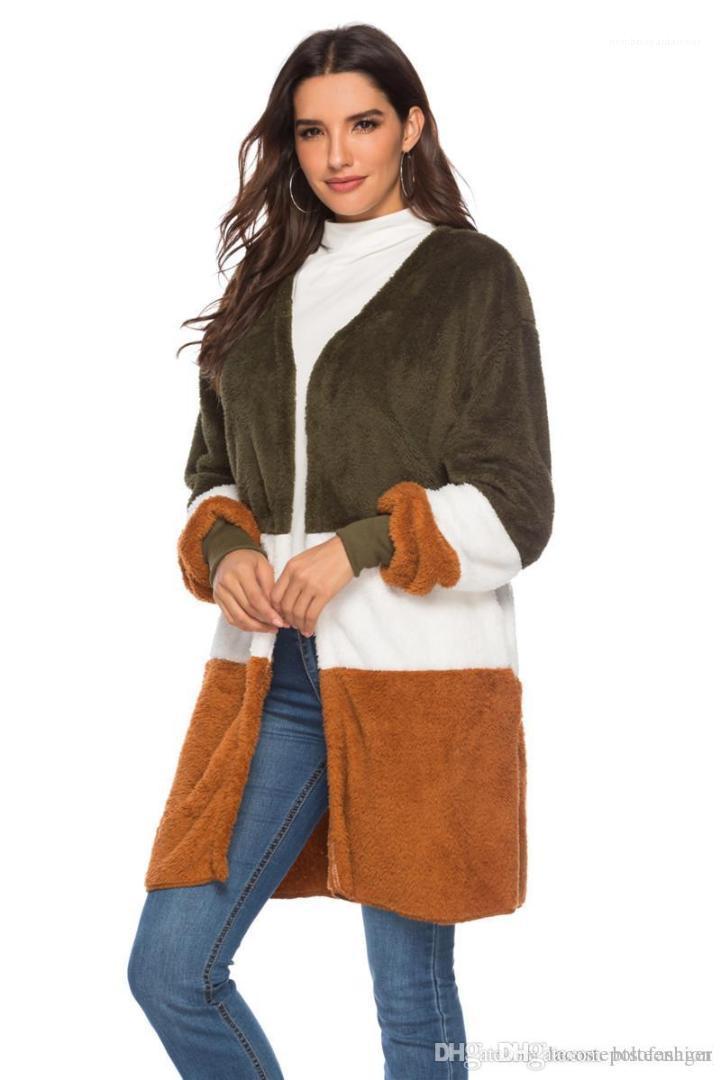 Manguito de manga larga empalmado señoras de la capa de lana Donna Moda Casual Cardigan con paneles para mujer de piel de imitación de costilla