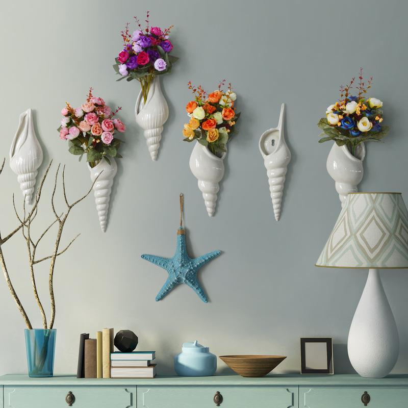Simples modernos creativa de pared restaurante florero de la decoración del hogar accesorios de concha en forma de florero Artes y Oficios