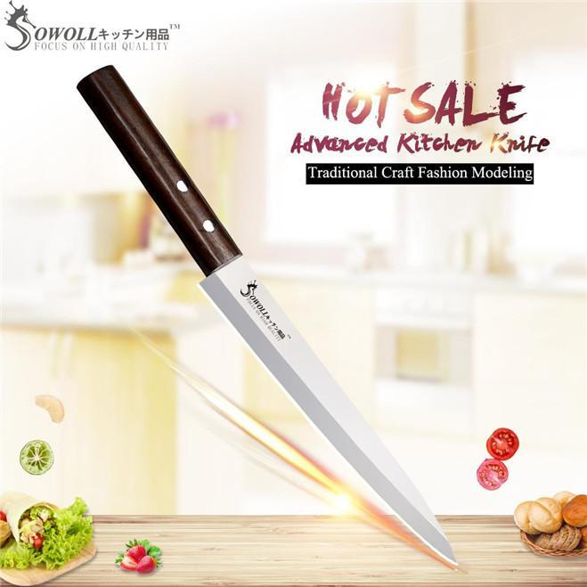 SOWOLL Brand 8 inch Sashimi Knife High Class Stainless Steel Knife Handmade Non-stick Monzo Handle Japanese Style Kitchen Knife