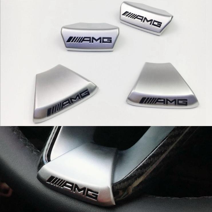 새로운 들어 AMG 메르세데스 벤츠 W212 W211 W210 GLC GLA E200L C / E 클래스 자동차 스티어링 휠 AMG 로고 엠블럼 자동차 스티커 스포츠 에디션