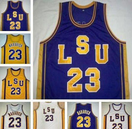 맞춤형 NCAA # 23 Pete Maravich Lsu Tigers 빈티지 유니폼 보라색 화이트 옐로우 레트로 대학 농구 스티치 남성 어린이 청소년 크기 S-4XL
