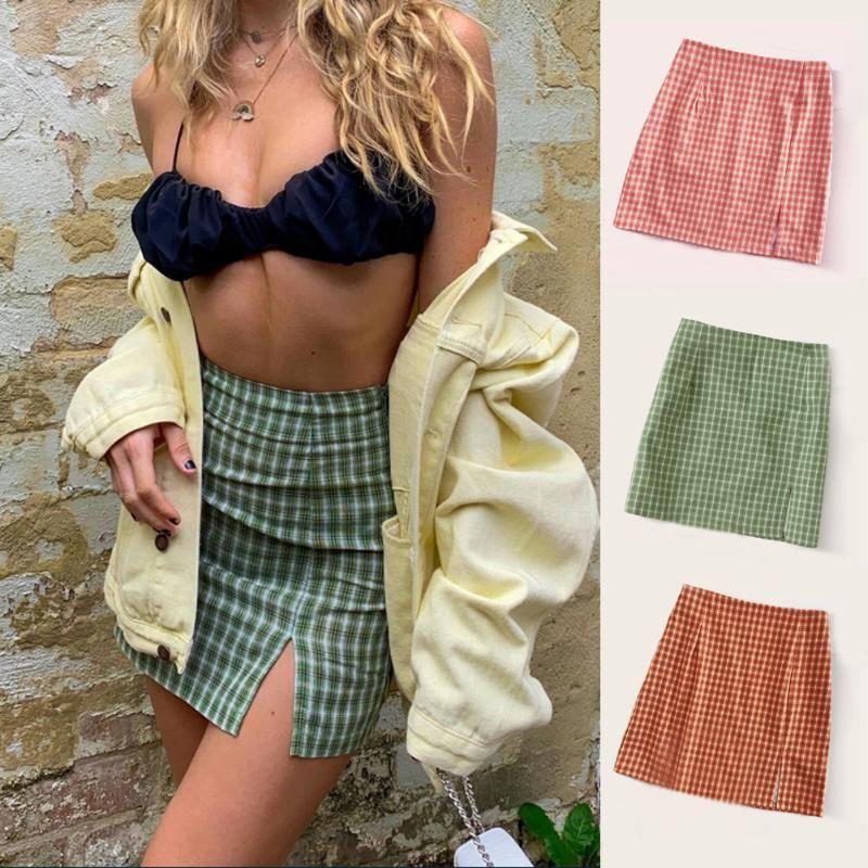 Skirts 2021 Summer Mini Lattice Split Short Skirt European And American Fashion Wild High Waist Zipper Slim Women's
