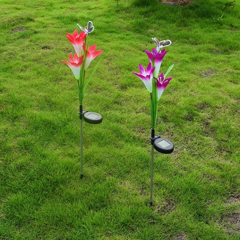 잔디 장식 풍경 통로 태양 전원 LED 인공 꽃 램프 나비 스테이크 빛 정원 마당