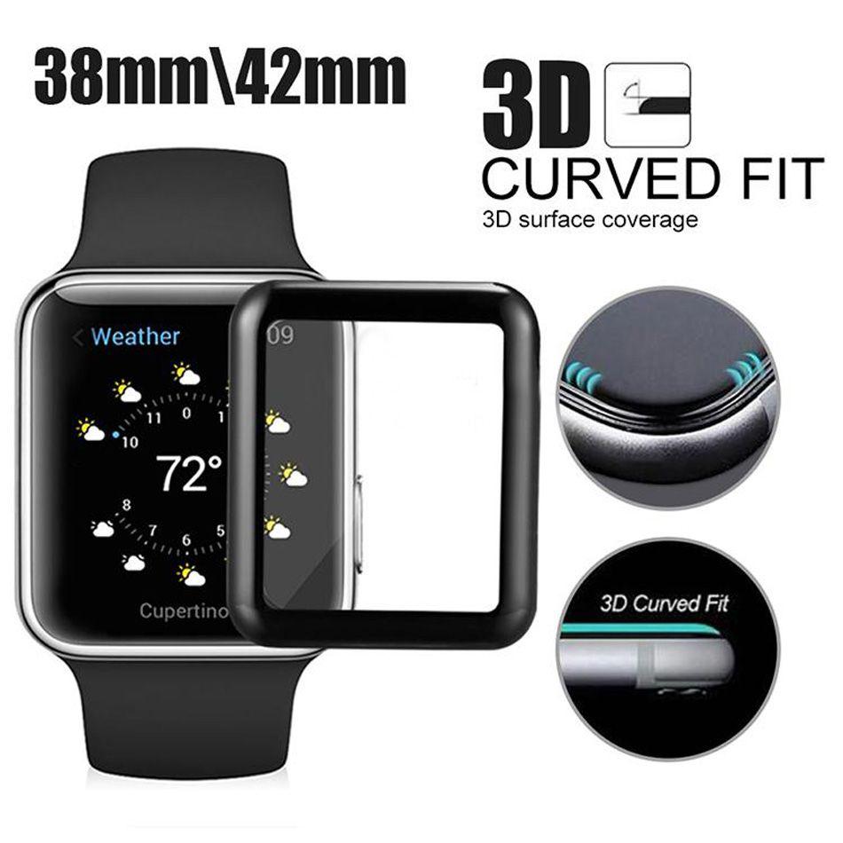 화면 보호기에 대한 Iwatch 4 차원 곡선 전체 커버 시계 강화 유리 가장자리 가장자리 보호를위한 애플 시계 시리즈 3/2/1에서 박스