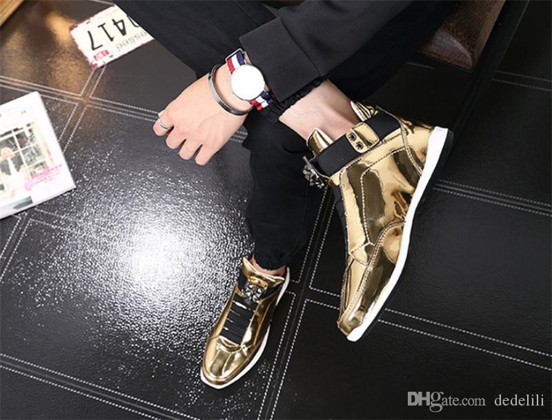 sapatos atacado 2019 Hot Sale coreana na moda da grife s prata ouro negro brilhante brilhante Sr. elegantes sapatos tapete vermelho preferenciais