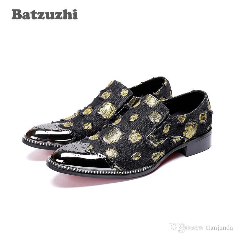 Batzuzhi Rock zapatos de hombre Formal Shoes Men Metal Punta Toe Black / Red Party e Wedding Shoes Men Business Oxfords, Big US6-12