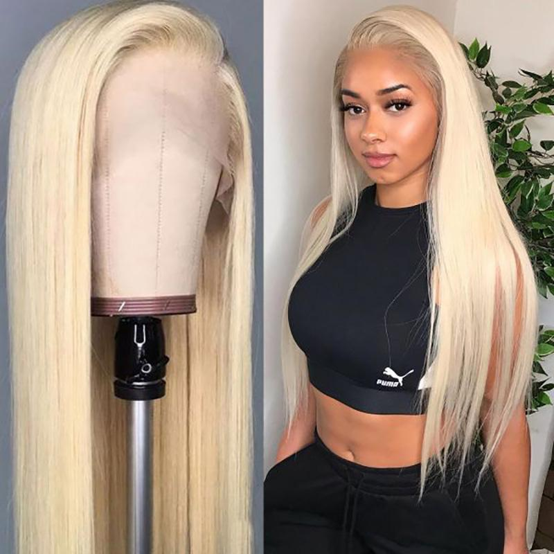 전체 레이스 인간의 머리 가발 (613) 금발 컬러 흰색 여성 롱 스트레이트 투명 레이스 앞 가발 아기 머리