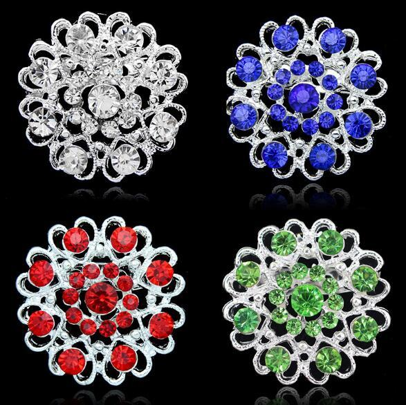 2019 New fashion Crystal Rose Brooch Heart Flowers brooches pins Boutonniere Stick Corsage jewelry for Men Women Jewelry