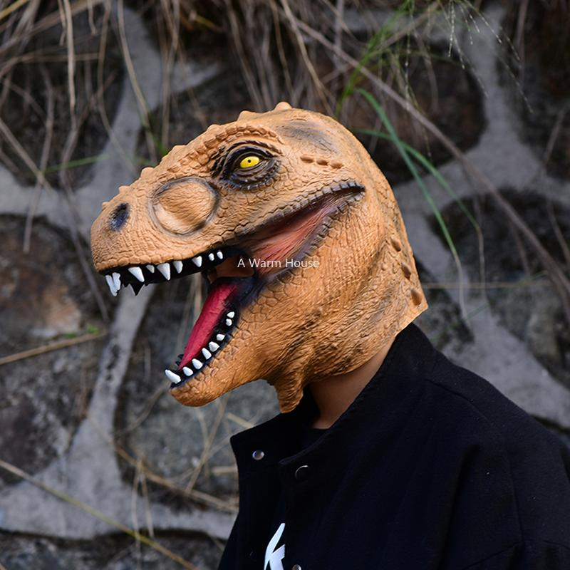 Tyrannosaurus Rex Latex Mask Halloween Party Cosplay Dinosaur Masks Mascaras De Latex Realista Animal Maske Masquerade Masque Y200103