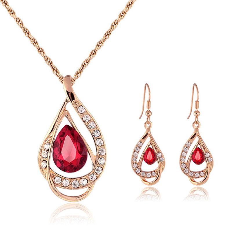 Shining Elegant Wedding Bridal Jewelry Prom Rhinestone Crystal Birdal Jewelry New Bling necklace and earring set party jewelry 162179