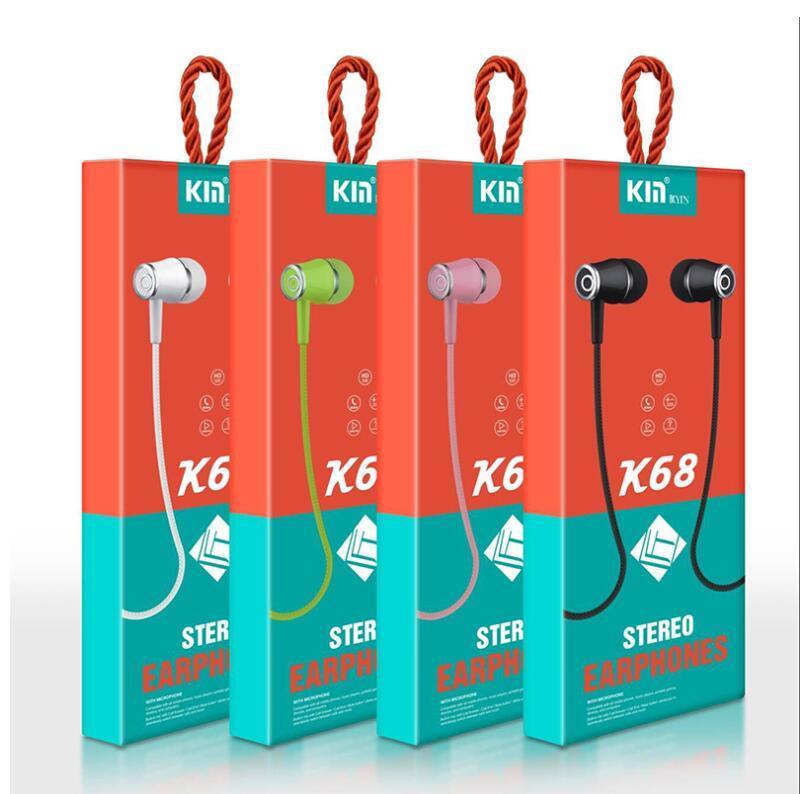 K68 3.5mm의 이어폰 이어폰 헤드셋은 안드로이드 스마트 폰을위한 마이크 이어폰 interfac 3.5mm의와 제어를 유선