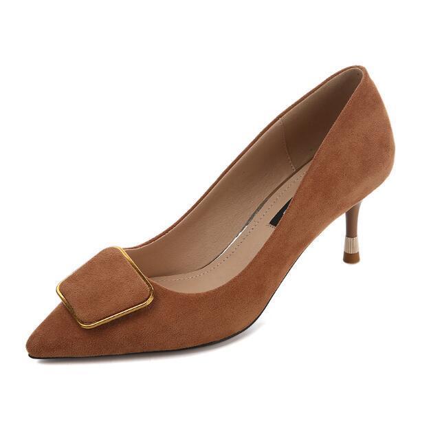 섹시한 하이힐 여성 스웨이드 펌프 지적 발가락 얇은 발 뒤꿈치 여성 가을 파티 웨딩 신발 숙녀 Stilettos