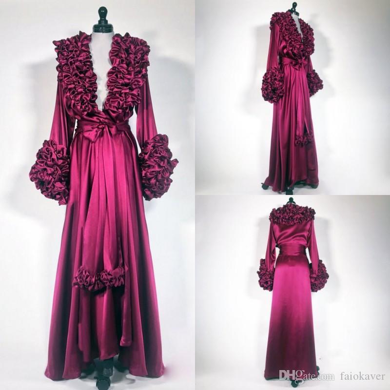 2019 Sexy Womens Robe Ruffles Nightgown Bathrobe Sleepwear Deep V Neck Bridal Robe with Belt Wedding Party Gifts Bridesmaid Dress