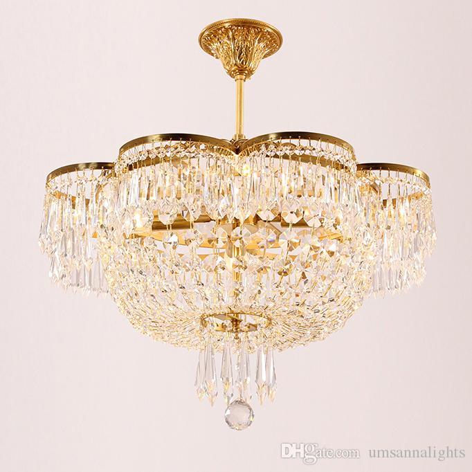 100% Brass Crystal Chandelier European French Copper Crystal Chandeliers Lights Fixture LED Light Bedroom Living Room Home Indoor Lighting
