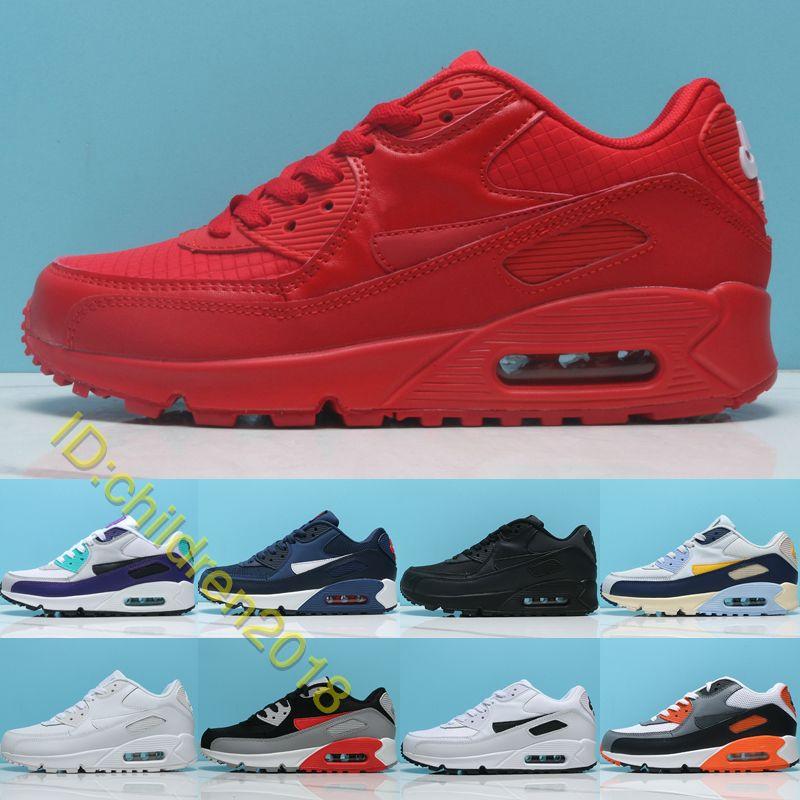 Hava Yastığı 90 Koşu Ayakkabıları Erkekler Kadınlar Için Eğitmenler Yüksek Kalite Klasik 90 S Deri Üçlü Kırmızı Üzüm Kızılötesi 2019 Sneakers Boyutu 36-45