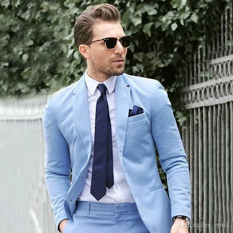 Matrimonio estivo vestiti degli uomini blu di lino Groom Tuxedo Man Prom Suit Due pulsanti Groomsmen Blazers uomo Giacche 2 pezzi (coat + pants) Costume Homme