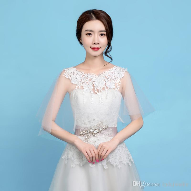 Ivoire mariage accessoires hidelles boleros doux tulle doux avec applique pas cher 2019 Nouvelle arrivée en cours de mariée d'été