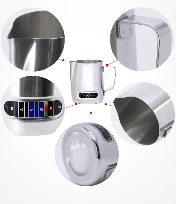 600ml Edelstahl Aufschäumen von Milch Krug mit eingebautem Thermometer, Creamer Aufschäumen Pitcher 20 Oz Espresso-Kaffee Latte Töpfe